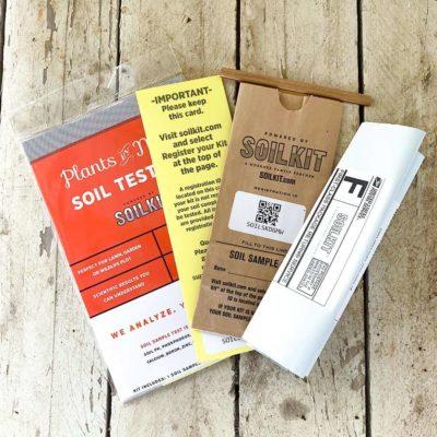 Soil Test kit with instruction card, bag for soil sample and return envelope
